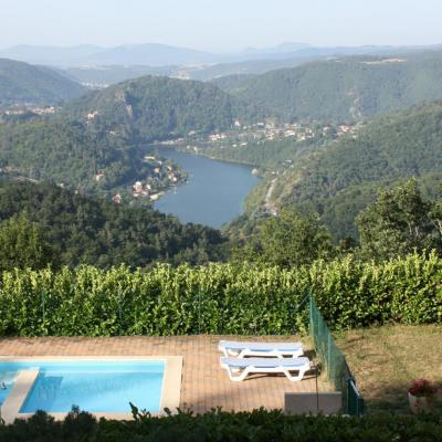 Panorama of the Gorges de la Loire and the swimming pool